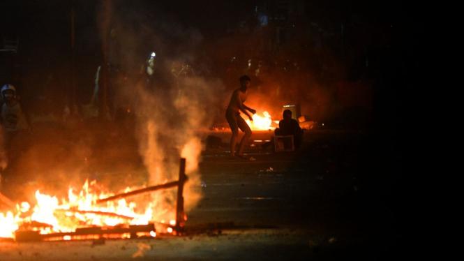 Bentrok Massa Dengan Brimob di Kawasan Tanah Abang, Jakarta (22/5/2019).
