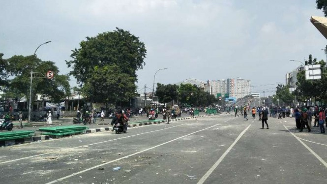 Kondisi di jalan Jati Baru, Tanah Abang mulai kondusif, Rabu 22 Mei 2019