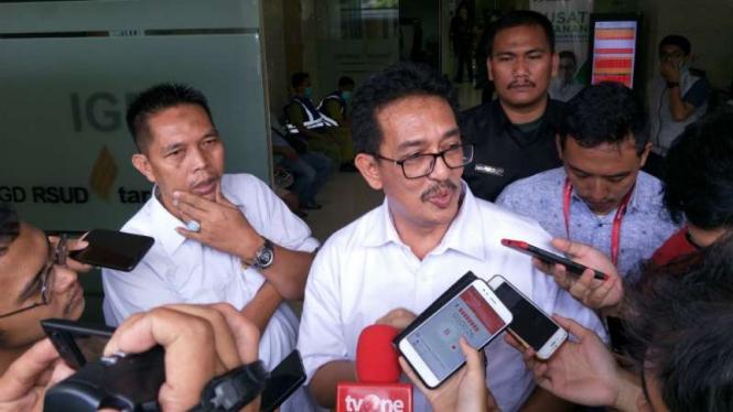 Kepala Bagian Hubungan Masyarakat RSUD Tarakan dr Reggy S Sobari dalam konferensi pers tentang korban kerusuhan di kawasan Tanah Abang, Jakarta, Rabu siang, 22 Mei 2019.