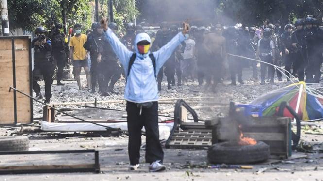 Lokasi kerusuhan di Jati Baru Jakarta 22 Mei 2019.