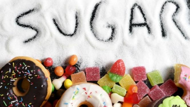 Ilustrasi makanan mengandung gula.