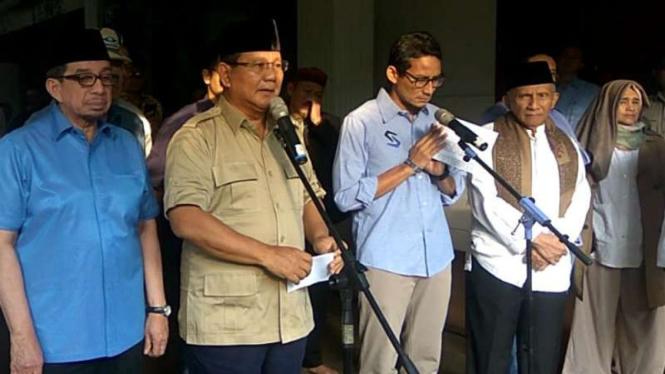 Calon presiden nomor urut 02 Prabowo Subianto di Jakarta, Rabu, 22 Mei 2019.