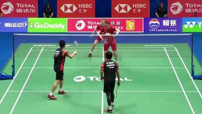 Pertandingan Mohammad Ahsan/Hendra Setiawan Vs Kim Astrup/Mathias Boe