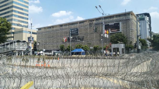 Situasi di Depan Bawaslu, Jalan MH Thamrin, Jakarta Pusat.