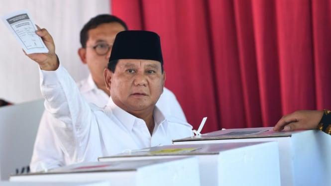Capres Prabowo Subianto saat nyoblos pada Hari Pemilu 17 April 2019/Ilustrasi Pemilu.