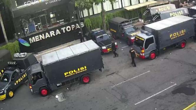 Situasi di depan sekitar kantor Bawaslu, Jalan MT Thamrin, Jakarta, Sabtu 25 Mei 2019.