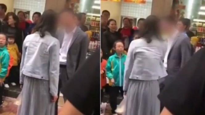 Wanita menampar kekasihnya di depan umum