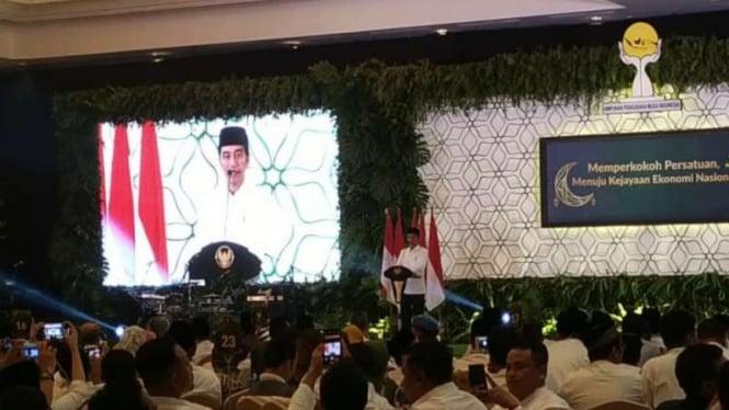 Presiden Jokowi saat memberi sambutan di Silatnas dan Buka Puasa Bersama HIPMI