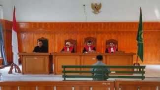 Ilustrasi terdakwa saat menjalani persidangan.