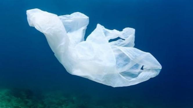 Ilustrasi sampah plastik di laut.