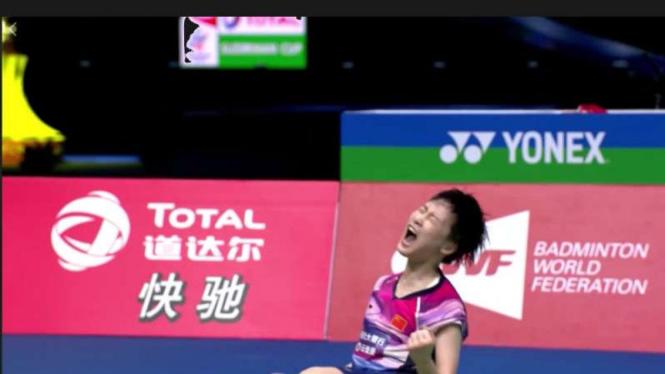 Chen Yu Fei histeris usai kalahlan Akane Yamaguchi di final Sudirman Cup.