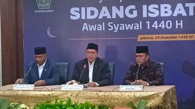 Konferensi pers sidang isbat penentuan 1 Syawal 1440 H, Senin, 3 Juni 2019.