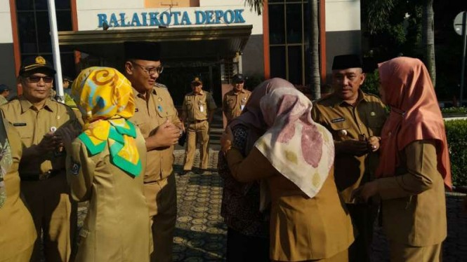 Wali Kota Depok, Mohammad Idris saat apel halal bi halal.