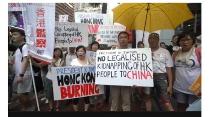 Demonstrasi tolak RUU Ekstradisi di Hong Kong (BBC)