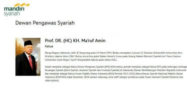 KH Ma'ruf Amin tercacat sebagai Dewan Pengawas Syariah pada Bank Mandiri Syariah