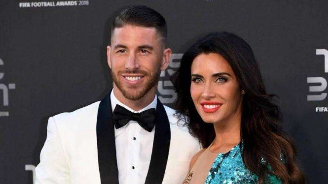 Bek Real Madrid, Sergio Ramos, bersama kekasihnya, Pilar Rubio