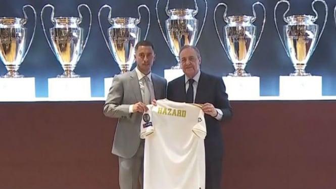 Jersey Eden Hazard di Real Madrid masih tanpa nomor