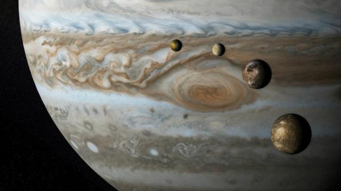 Planet Jupiter dengan empat Bulannya