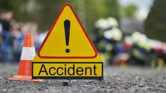 Ilustrasi tanda lokasi kecelakaan lalu lintas.