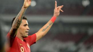Striker Timnas Indonesia, Alberto 'Beto' Goncalves rayakan gol ke gawang Vanuatu