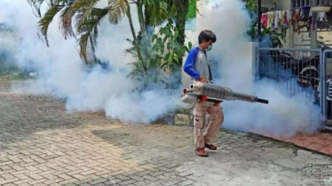 Petugas melakukan pengasapan untuk memberantas nyamuk demam berdarah.