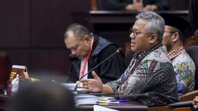 Ketua KPU Arief Budiman saat menghadiri sidang di Mahkamah Konstitusi