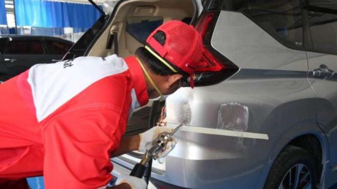 Fasilitas body repair and painting Mitsubishi Balikpapan