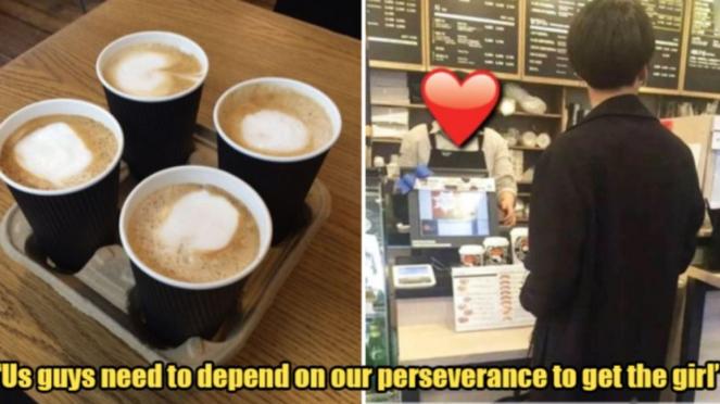 Ilustrasi pria dan kopi