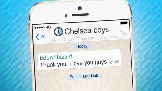 Ilustrasi pesan perpisahan Eden Hazard di grup Whatsapp pemain Chelsea