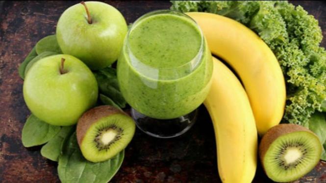 Ilustrasi jus buah dan sayuran.