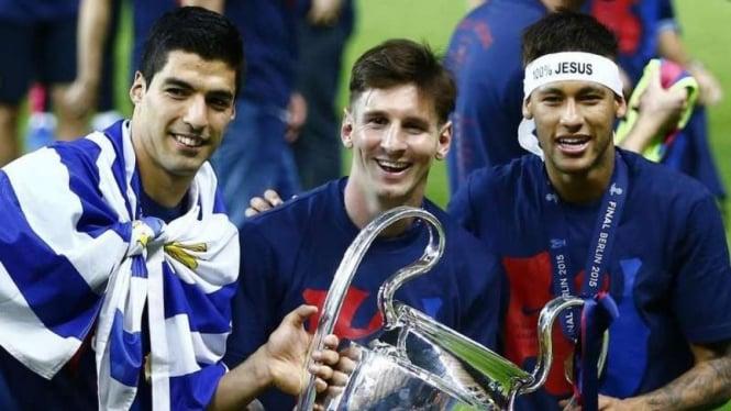 Lionel Messi, Luis Suarez, dan Neymar, membawa Barcelona juara Liga Champions