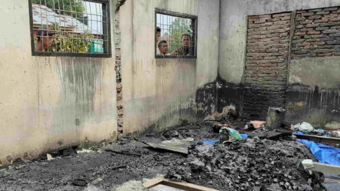 Lokasi rumh pasca-kebakaran pabrik korek api di Kabupaten  Langkat, Sumut.
