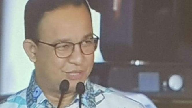Anies Baswedan pidato di HUT DKI Jakarta, 22 Juni 2019.