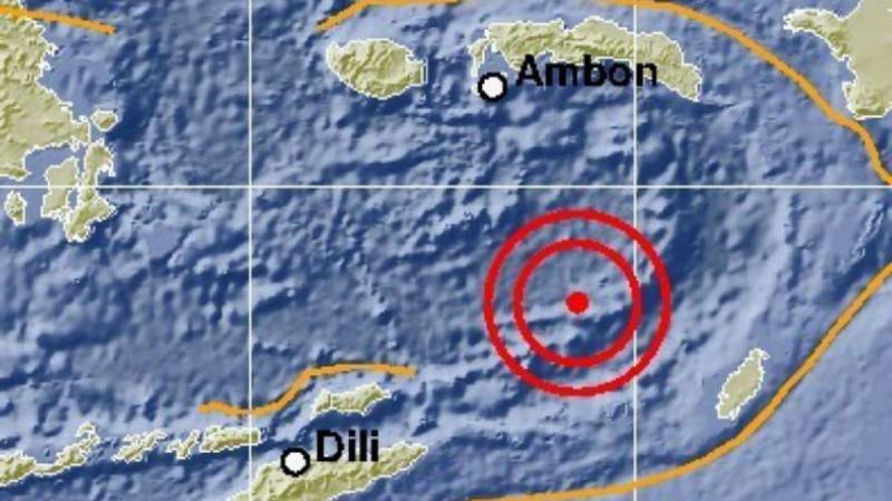 Peta gempa di Laut Banda, Maluku.