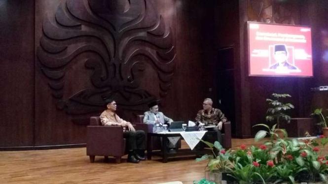 Presiden ketiga RI Bacharuddin Jusuf Habibie dalam forum peresmian Habibie Institute for Public Policy and Governance di kampus UI di Depok, Jawa Barat, Selasa, 25 Juni 2019.