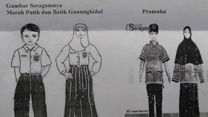 Sebuah surat edaran tentang para siswa wajib berseragam busana muslim di SD Negeri Karangtengah III, Kecamatan Wonosari, Kabupaten Gunungkidul, DI Yogyakarta.