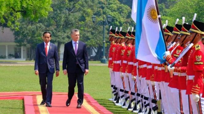 Presiden Joko Widodo dan Presiden Mauricio Macri di Istana Bogor.