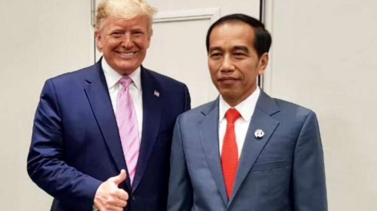 Presiden Jokowi dan Presiden Donald Trump di KTT G20 Osaka.