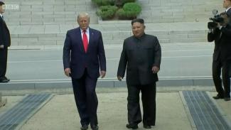 Presiden AS Donald Trump akhirnya menginjakan kakinya di Korea Utara