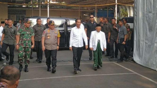 Jokowi dan Ma'ruf Amin tiba di kantor KPU, Jakarta, Minggu, 30 Juni 2019.