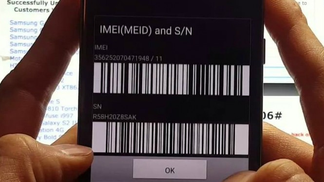 Ilustrasi IMEI ponsel.