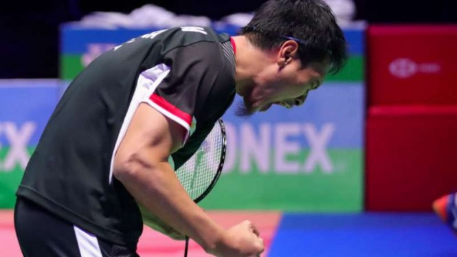 Mohammad Ahsan di final All England Open 2019.