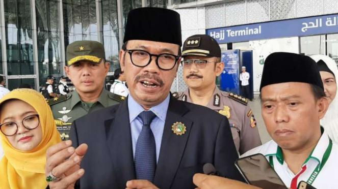 Dubes RI untuk Arab Saudi, Agus Maftuh usai menyambut jemaah haji asal Surabaya.