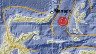 Ilustrasi gempa bumi di Sulawesi Utara.