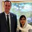 Quebec Education Minister Jean-Francois Roberge with Malala Yousafzai - Twitter/@jfrobergeQc