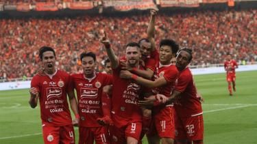 Skuat Persija saat merayakan gol Marko Simic.