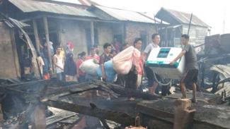 Kebakaran di Kelurahan Ogan Baru, Kecamatan Kertapati, Palembang.