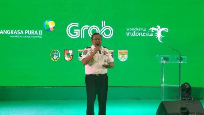 Direktur Jenderal Perhubungan Darat Budi Setiadi dalam forum peluncuran Grab Car Airport di Bandara Kualanamu, Kabupaten Deli Serdang, Sumatera Utara, Kamis malam, 11 Juli 2019.