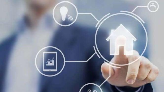 Ilustrasi teknologi di industri properti.