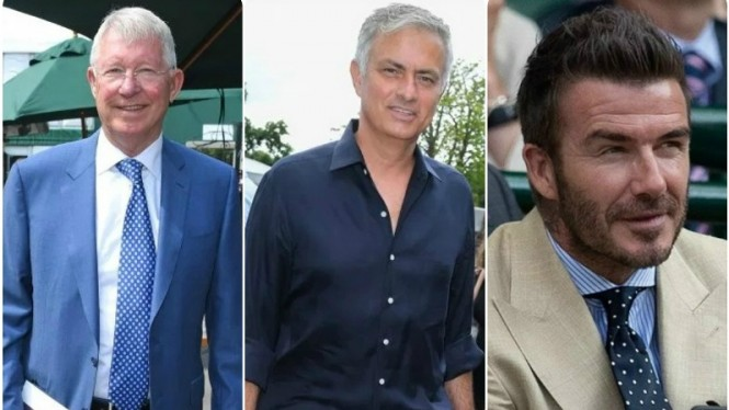 Trio sosok legendaris Manchester United; Alex Ferguson, Mourinho, David Beckham